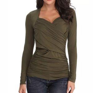 Tops - Olive Green Long Sleeve Fitted Stretch Top